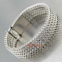 Wide Stainless Steel Franco Chain Link Cuban Men's Bracelet Silver Wristband