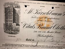 Kirschbaum Clothing Billhead 1900 Philadelphia Nice Building