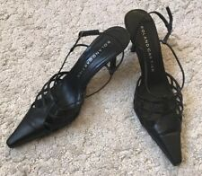 Roland Cartier Black Strappy Pointed Toe Elegant Formal Office Shoes UK 6.5