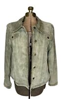 Tabio Womans Suede Green Leather Trucker Jacket Coat Size Large