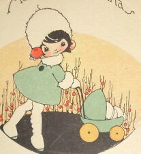 """Vintage Christmas card, Victorian amazing art deco girl pushing carriage, 4"""""""