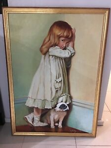 Old Victorian Girl with a Dog at the corner of the room oil painting by K.Zile