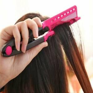 Women V Comb Hair Straightener Comb Folding Salon Hairdresser Combs Styling Tool