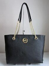 MICHAEL MICHAEL KORS Black FULTON LG LEATHER CHAIN TOTE Bag Handbag Purse