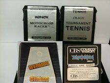 4 RARE Games for  Colecovision  Motorcross Racer, Tourn Tennis, Gyruss , Zaxxon