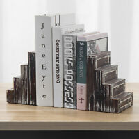 MyGift 2 Piece Set Rustic Torched Wood Stairs Step Design Decorative Bookends