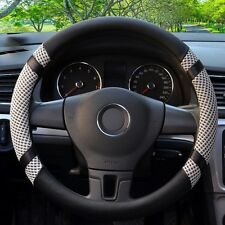 All Seasons Grey 38cm Microfiber Leather Ice Silk Steering Wheel Cover Cooling
