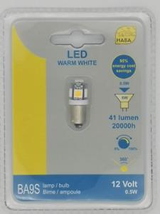 Haba BA9S 5 LED Warm White 12V Bulb BA9S