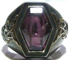 OLD ANTIQUE CHINA CHINESE DRAGON STERLING SILVER AMETHYST UNISEX RING SIZE 11.75