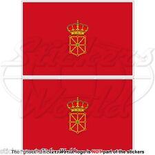 "NAVARRE Flag SPAIN Navarra, Nafarroa Spanish 75mm (3"") Vinyl Stickers Decals x2"
