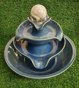 """Fortune More 3-Tier Ceramic Indoor Water Fountain Feature 12"""" Round (& Stones)"""
