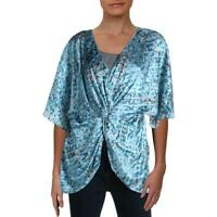 CQ by CQ Womens Printed V-Neck Twist Front Blouse Top BHFO 2170