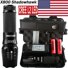 8000LM X800 Shadowhawk CREE L2 LED Military Flashlight 2PCS 5000mAh Battery HOT