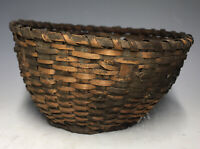 20th C. Native American Black Ash Splint Small Basket Great Lakes Weaving