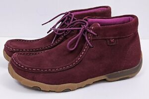 Twisted X Womens Lace Up Chukka Driving Moc Boots Booties Size 6.5 Wine Leather