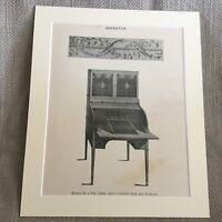 Antico Stampa Mobili Design Thomas Sheraton Pier Tavolo Cilindro Scrivania