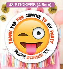 48 Birthday Party Bag Stickers Sweet cone Labels Emoji Personalised