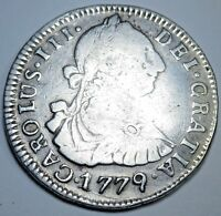 1779 PR RPD Doubling Silver Spanish 2 Reales Piece of 8 Real Two Bit Pirate Coin