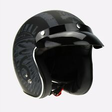 Viper RS05 Open Face Motorbike Motorcycle Helmet Chequer Retro Mod Scooter L