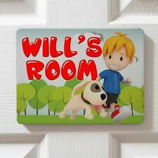 Personalised Cute Puppy Boy Children's Bedroom Door Kids Name Sign Plaque DP20