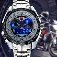 Full Steel LED Digital Quartz Chronograph Waterproof Military Sports Watch