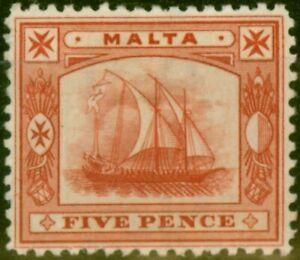 Malta 1899 5d Vermilion SG33 Fine Mtd Mint