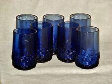 "7 L E Smith Wicker Basketweave Cobalt Blue Tumblers 5"""