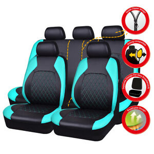 Universal Car Seat Covers PU Leather Mint Black Airbag For Toyota Honda Nissan