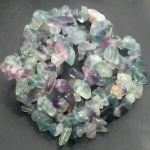 "Natural Drilled Flourite Chips, 8-12x8-12mm, 31.5""strand,  Free post, OZ Seller"