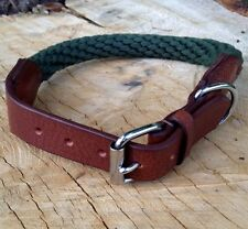 NEW HAND-MADE SOFT LEATHER / ROPE DOG COLLAR STRONG COLLIE SPANIEL MEDIUM BROWN