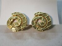 Vtg Retro 80s Quality Statement Clip-On Textured Swirl Earrings Gold Tone