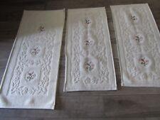 Parure camera da letto tris tapppeti set scendiletto ricamati vintage