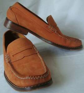 COLE HAAN ORANGE SUEDE PENNY LOAFERS W/SWOSH AIR SIZE 9M EUC