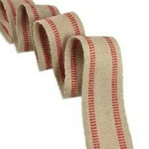 10 YARDS RED LINE JUTE WEBBING HEAVY WEIGHT UPHOLSTERY CRAFT RIBBONS SUPPLIES