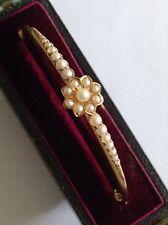Excelente Antiguo Oro 15 CT victoriano Conjunto de perla semilla natural Brazalete con bisagras