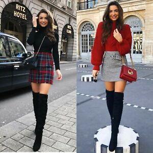 Zara Black Over  The Knee Flat Boots Uk 4 Eu 37