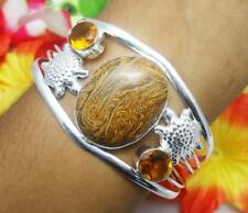 Marium Jasper Citrine Gemstone Adjustable Cuff Bracelet 925 Silver Plated 10555
