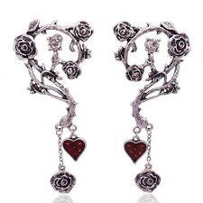 Vintage Big Punk Flower Rose Earrings Women Ethnic Antique Silver plated Gothic