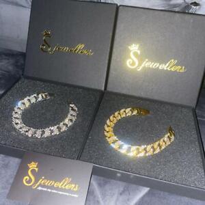 Mens Cuban Bracelet Iced Shine Hip Hop Belcher Rose Gold Silver UK