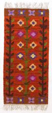 More details for larkspur / floral vintage 1970's folk art polish textile wall hanging / rug