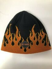 Harley Davidson genuine black/flames  pullover Beanie cap one size fits all