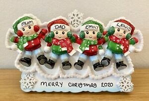 Personalised Family of 4 Snow Angel Christmas Mantle Table Topper Decoration
