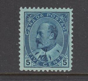Canada Sc 91 MNH. 1903 5c blue on blue KEVII, expertly regummed, fresh, VF appea