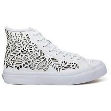 VANS Sk8 Hi Tops Decon Cut Out Leaves White Skate Shoes Women Size 10