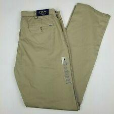 POLO Ralph Lauren Pants Mens Classic Fit Tan Khaki Flat Front 36T x 38 NEW $98