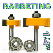 2 pc 1/4 SH 1/2, 3/8 Rabbeting & Slotting Router Bit w/2pc Bearings Set sct-888