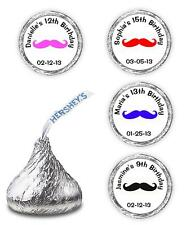 108 PERSONALIZED MUSTACHE BIRTHDAY PARTY SUPPLIES FAVORS HERSHEY KISSES LABELS