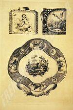 GRAVURE Jules JACQUEMART 1873 jatte tasse boite à thé PORCELAINE DE SEVRES