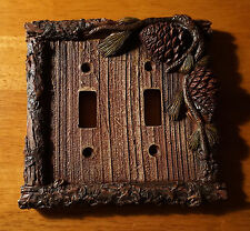 PINE CONE BARK CABIN DOUBLE SWITCH PLATE COVER SWITCHPLATE Lodge Home Decor NEW