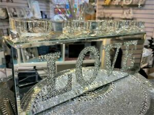 Bling Crushed Diamond LOVE mirror Shine 4 Tealight Candle Holder Home Decoration
